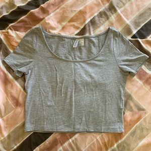 gray cropped t shirt